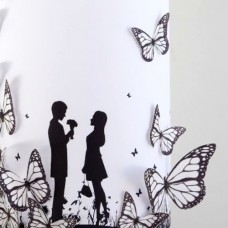 Crystal Candy Black & White Wafer Butterflies Pk/22