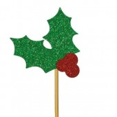 Glitter Holly Cupcake Toppers - Card Pk/12