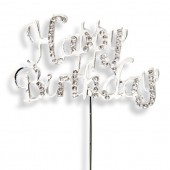 Diamante 'Happy Birthday' Topper