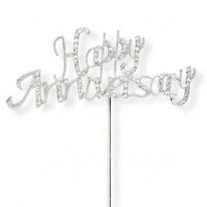 Diamante Silver 'Happy Anniversary' Topper