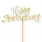 Diamante Gold 'Happy Anniversary' Topper