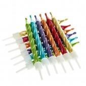Metallic Rainbow Candles Pk/12