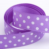 Lilac Dot Grosgrain 15mm x 10m Roll