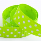 Lime Dot Grosgrain 15mm x 10m Roll