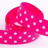 Shocking Pink Dot Grosgrain 15mm x 10m Roll