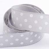 Silver Dot Grosgrain 15mm x 10m Roll