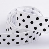 White Dot Grosgrain 15mm x 10m Roll