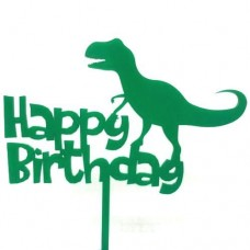 Green Dinosaur Birthday Cake Topper - Acrylic