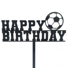 Black Football Birthday Cake Topper - Acrylic