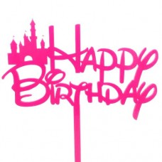Fairytale Hot Pink Birthday Cake Topper - Acrylic