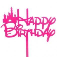 Fairytale Deep Pink Birthday Cake Topper - Acrylic