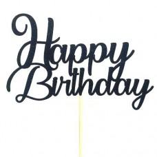 Black Glitter Happy Birthday Cake Topper - Card