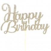 Light Gold Glitter Swirl Happy Birthday Cake Topper - Card