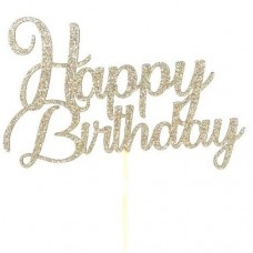 Light Gold Glitter Happy Birthday Cake Topper - Card