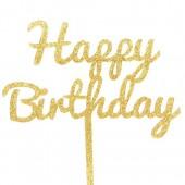 Gold Glitter Happy Birthday Cake Topper - Acrylic