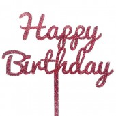 Red Glitter Happy Birthday Cake Topper - Acrylic