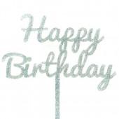 Silver Glitter Happy Birthday Cake Topper - Acrylic