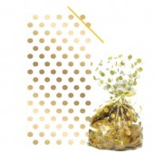 Gold Polka Dot Cello Bags with Twist Ties Pk/20