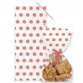 Rose Gold Polka Dot Cello Bags with Twist Ties Pk/20