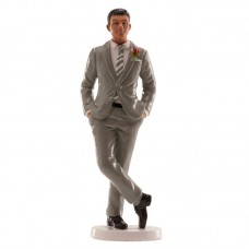 Groom Figurine in Grey Suit