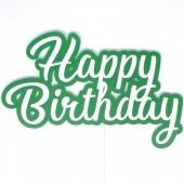 Printed Acyrlic Happy Birthday Topper - Green