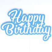 Printed Acyrlic Happy Birthday Topper - Sky Blue