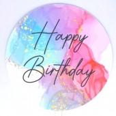 Printed Acrylic Paddle - Happy Birthday Mixed Marble