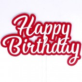 Printed Acyrlic Happy Birthday Topper - Red