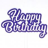 Printed Acyrlic Happy Birthday Topper - Purple