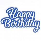 Printed Acyrlic Happy Birthday Topper - Blue