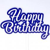 Printed Acyrlic Happy Birthday Topper - Royal Blue