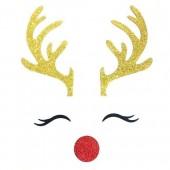 Glitter Reindeer Cake Topper Kit - Card