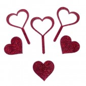 Red Glitter Acrylic Hearts Cupcake Toppers