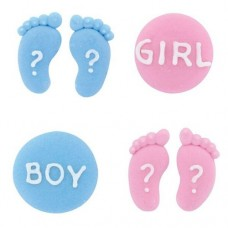 Gender Reveal Sugar Pipings Pk/12