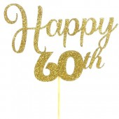 Gold Glitter 60th Happy Birthday Cake Topper - Card