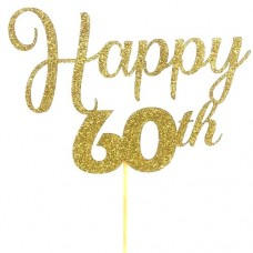 Gold Glitter 60th Happy Birthday Cake Topper - Card