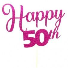 Fuchsia Glitter Happy 50th Cake Topper - Card