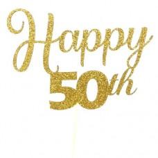 Gold Glitter Happy 50th Cake Topper - Card