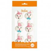 Decora Funny Bunny Sugar Toppers Pk/6