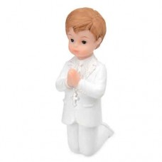 Communion Boy in White Suit Kneeling Cake Topper