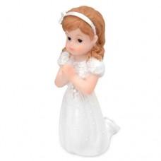 Communion Girl with Pearl Cross Kneeling Cake Topper