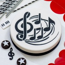 Decora Round Cake Stencil - Music Notes
