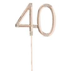 Diamante '40' Rose Gold Cake Topper