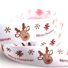 15mm Merry Christmas Reindeer Ribbon - 5m Roll