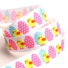 15mm Easter Eggs & Chicks Ribbon - 5m Roll