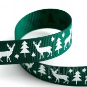 15mm Stag Christmas Green Ribbon - 5m Roll