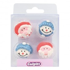 Santa & Snowman Face Sugar Pipings Pk/12