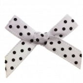 7mm White & Black Polka Dot Satin Bows Pk/10