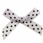 7mm White & Black Polka Dot Satin Bow