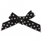 7mm Black & White Polka Dot Satin Bows Pk/10